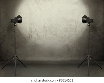 photo studio in old grunge room with concrete wall, urban background