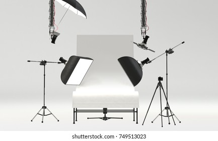 photo studio with professional packshot table and lighting equipment. front view, 3D Rendering