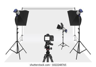 Photo studio set-up isolated