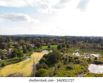 Photo of the suburb from a height, drone, landscape background