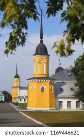 Photo of a summer landscape with ancient cathedrals and towers in Russia