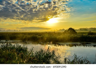 Photo with a sunny summer sunrise over the river.
