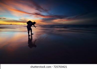 Photo of sunset on sea, Borneo Sabah