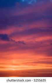 Photo of a sunset sky. The image can be applied as a background.