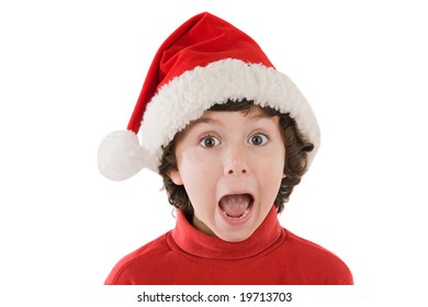 Photo of an surprised boy in christmas