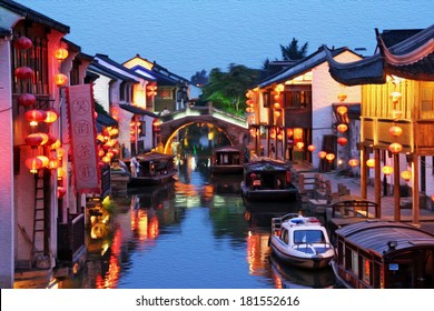 Photo of Suzhou old town in the evening, stylized and filtered to look like an oil painting  - a canal, boats, historic houses and chinese lanterns.