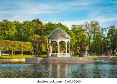 The photo of Swan Pond in Tallinn Kadriog park, taken early evening in May 2017.