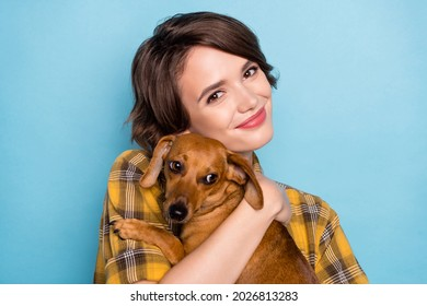 Photo of sweet girl cuddle little doggy pet peaceful smile wear checkered shirt isolated blue color background