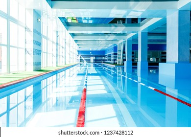 Photo of swimming pool with red dividers