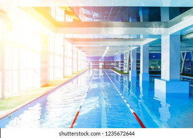 Photo of swimming pool without people.