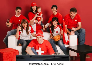 Photo of Swiss sports fans watching television and cheering for their team.