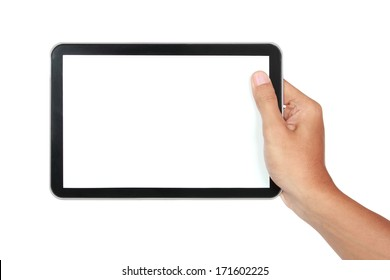 photo of a tablet held by a hand horizontally isolated on white background