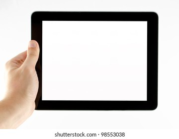 photo of a tablet held by a hand isolated on white background