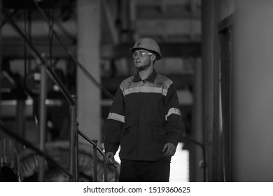 The photo was taken 09.09.2019 in the city of Ternovka in Ukraine. Silhouette of a working miner in a mine. editorial licensel