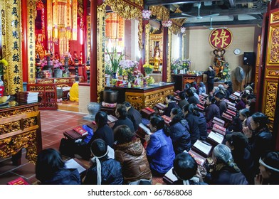 Photo taken during a funeral ceremony at a Buddhist temple in Hanoi, that is traditionnaly one of the funeral ceremony marks. Photo taken at: Ha Noi, Vietnam 18/ 01/ 2013.