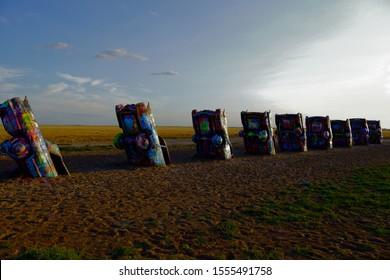 Photo taken July 23, 2019 at Amarillo Texas USA. This is Cadillac Ranch.