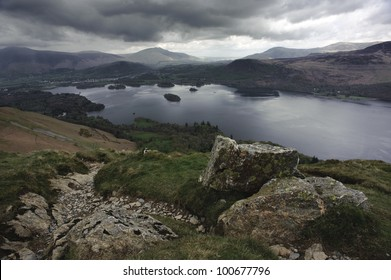 Photo taken of the northern end of Derwent Water from Cat Bells, near Keswick in the English Lake District
