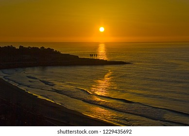 photo taken on 02-02-2015. Sunrise in the Mediterranean Sea. Taken at 7:00 am from the Balcon del Mediterraneo in Tarragona (Spain)