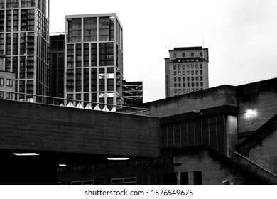 photo taken on the 22nd November 2019. The photo was taken outside the National Theatre London and shows the surrounding buildings in black and white format. Phot for Illustrative editorial use.
