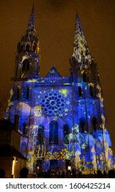 Photo taken on January 02, 2020 in Chartres Eure and Loir France. Night walk in the city of Chartres.