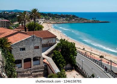photo taken in Tarragona (Spain) on 05-12-16 in Tarragona (Spain). View of the beach Del Milagro in Tarragona. Photo taken from the Balcon del Mediterraneo viewpoint