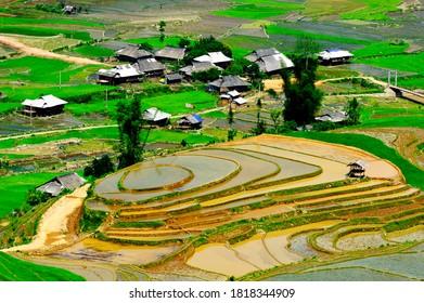 Photo was taken in the watering season of the terraced rice fields in Yen Bai Province, Northwest Vietnam.