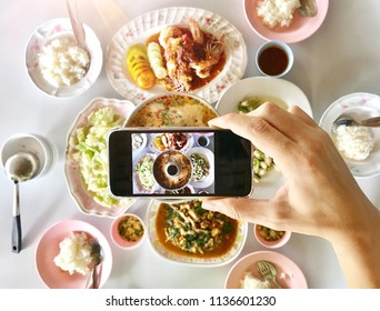 Photo taking on Flag lay seafood ,Stir fried , shrimp with spicy sauce and crab , Tom yum kung with Rices on plate , healthy food , thai spicy food