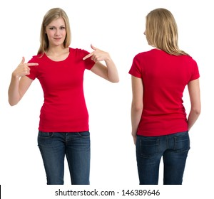 2cb0afe6 Photo of a teenage female with long blond hair posing with a blank red shirt .
