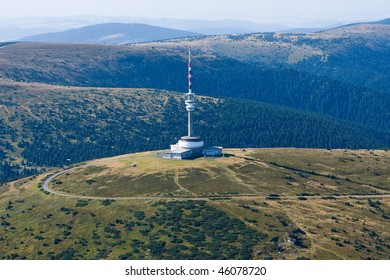 Photo of the television transmitter Praded from height, Czech republic