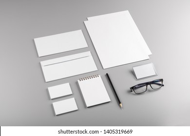 Photo. Template for branding identity. For graphic designers presentations and portfolios. Identity Mock-up isolated on gray and white background. Identity set mock-up. Photo mock up