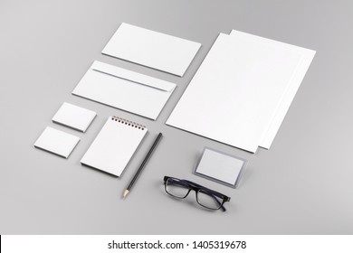 Photo. Template for branding identity. For graphic designers presentations and portfolios. Identity Mock-up isolated on gray and white background. Identity set mock-up. Photo mock up.