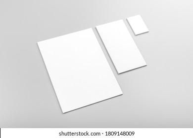 Foto. Vorlage für die Markenidentität. Für Grafikdesigner Präsentationen und Portfolios. Identity Mock up einzeln auf grauem und weißem Hintergrund. Identitätsbeschriftung. Foto-Muster
