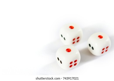 Photo of Three dices have triple one point isolated on white background