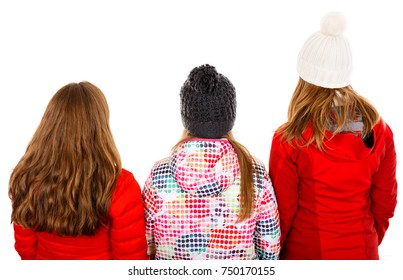 Photo of three young girl on isolated white background
