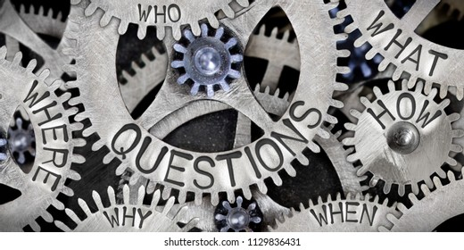 Photo of tooth wheel mechanism with QUESTIONS concept related words imprinted on metal surface