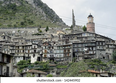 Photo of the town of Tende, high in the southern Alps in the French Mercantour National Park and Roya Valley. This French town once belonged to Italy.