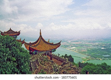 Photo of traditional chinese architecture with large vistas of space below  in background,  stylized and filtered to look like an oil painting. Location: Dragon Gate, Kunming, Yunnan Province, China