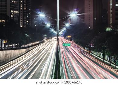 Photo of Traffic at Avenue 23th of May (Avenida 23 de Maio) in San Paulo (Sao Paulo), Brazil (Brasil)