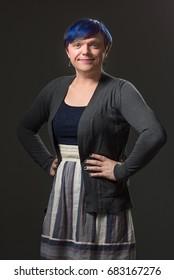 Photo of a transgender model during her transition, taken in a studio