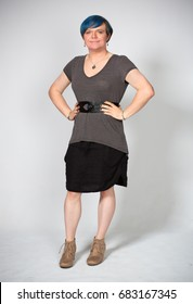 Photo of a transgender model during her transition, taken in a studio