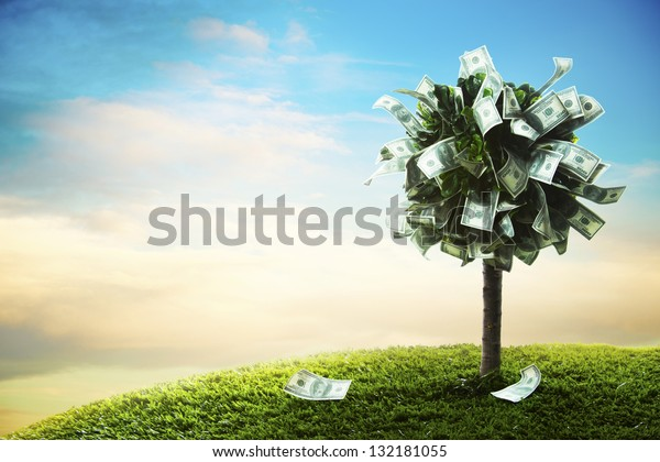 photo of tree made of dollars