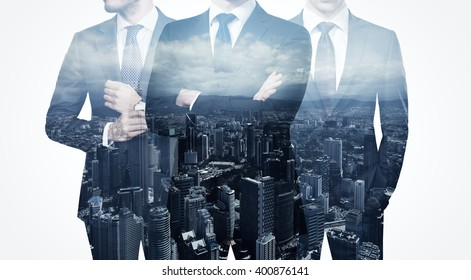 Photo of trio stylish adult businessman wearing trendy suit. Double exposure, panoramic view contemporary city background. Man power, leadership, isolated on white. Horizontal