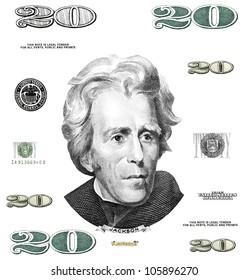 Photo twenty 20 dollar $ bill elements isolated on white background