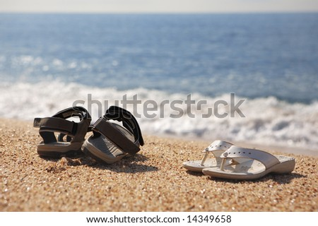 26d2f43dd Photo Two Pairs Beach Shoes Seaside Stock Photo (Edit Now) 14349658 ...
