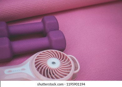 photo of two purple weights and a portable fan on a pink yoga mat