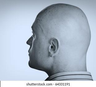 photo two tone male head side portrait close up