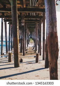 Photo under the pier in the city of Capitola in California near San Francisco