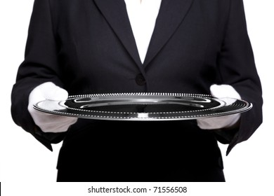 Photo of an unreconisable female butler holding a silver tray, isolated against a white background. Focus is on the front of the tray, good image for product placement.