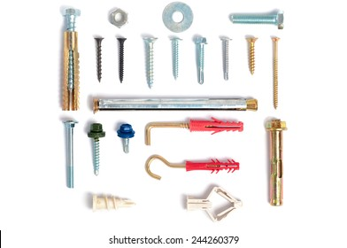 Photo various types of fastening elements for different materials.