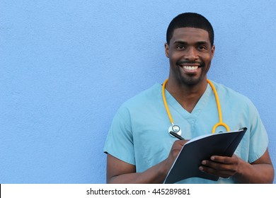 Photo of a very attractive African American male nurse with copy space